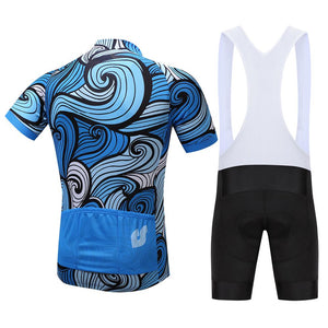 TrendyCycling Men's Sapphire Waves - Men's Short Sleeve Jersey Set