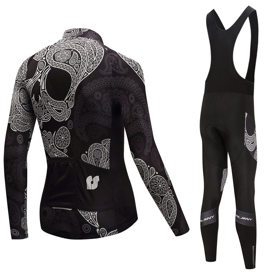 TrendyCycling Men's Jersey and black bib / 4XL / Black Skull - Men's Long Sleeve Jersey Set