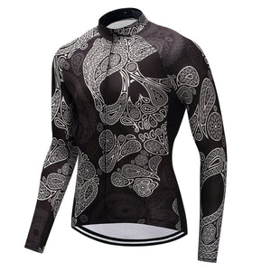 TrendyCycling Men's Skull - Men's Long Sleeve Jersey Set