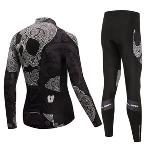 TrendyCycling Men's Skull - Men's Thermal Jersey Set