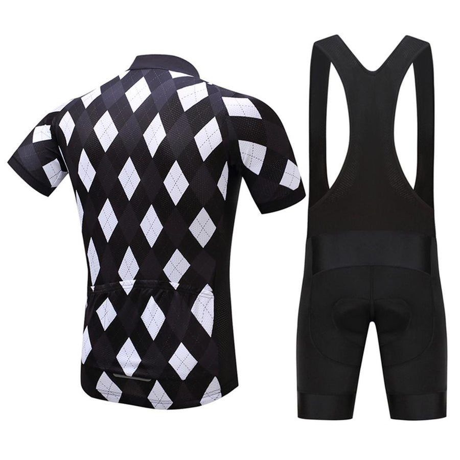 TrendyCycling Men's Jersey and black bib / XS / Black Solitaire - Men's Short Sleeve Jersey Set