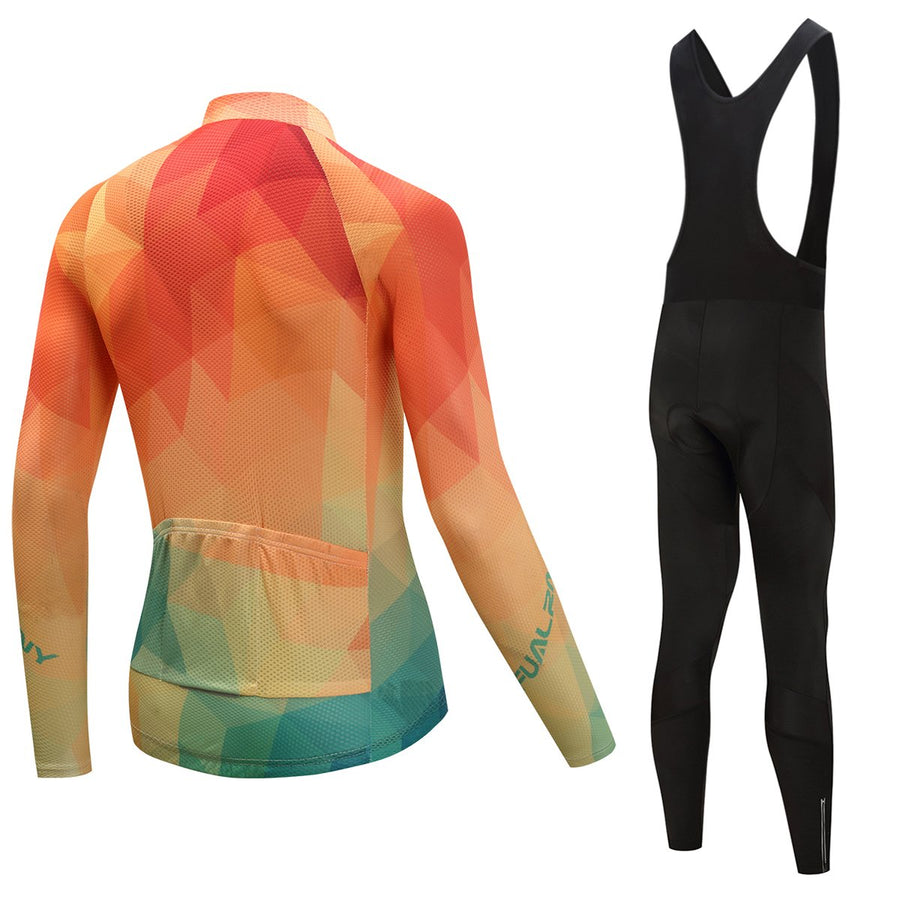 TrendyCycling Men's Jersey and black bib / 4XL / Coral Summertime - Men's Long Sleeve Jersey Set