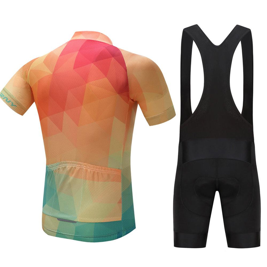 TrendyCycling Men's Jersey and black bib / XS / Coral Summertime - Men's Short Sleeve Jersey Set