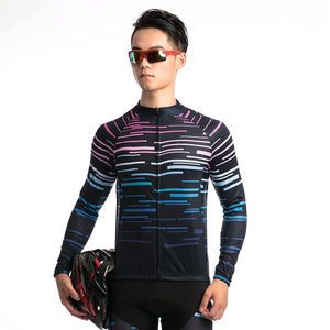 TrendyCycling Men's Violet Strip - Men's Long Sleeve Jersey