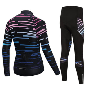 TrendyCycling Men's Violet Strip - Men's Long Sleeve Jersey Set