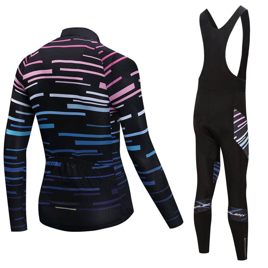 TrendyCycling Men's Jersey and black bib / S / Black Violet Strip - Men's Long Sleeve Jersey Set