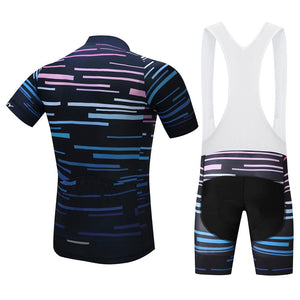 TrendyCycling Men's Violet Strip - Men's Short Sleeve Jersey Set