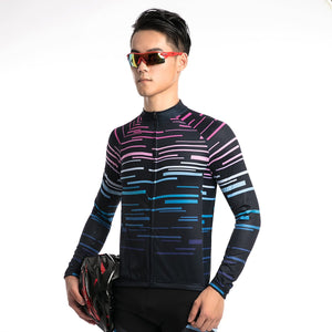 TrendyCycling Men's Violet Strip - Men's Thermal Jersey