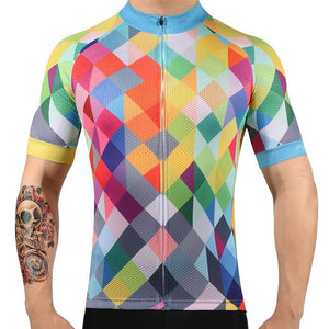 TrendyCycling Men's XS / Blue & Multi Color Diamond - Men's Short Sleeve Jersey