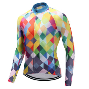 TrendyCycling Men's XS / Blue & Multi Color Diamond - Men's Thermal Jersey