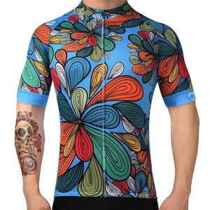 TrendyCycling Men's XS / Light/Blue Blossom - Men's Short Sleeve Jersey