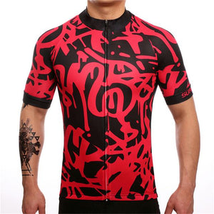 TrendyCycling Men's XS / Red Graffiti - Men's Short Sleeve Jersey