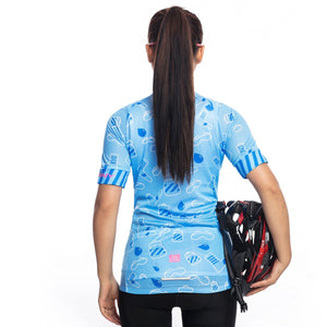 TrendyCycling Women's Azure Blue - Women's Short Sleeve Jersey