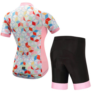 TrendyCycling Women's Coral Gem - Women's Short Sleeve Jersey Set