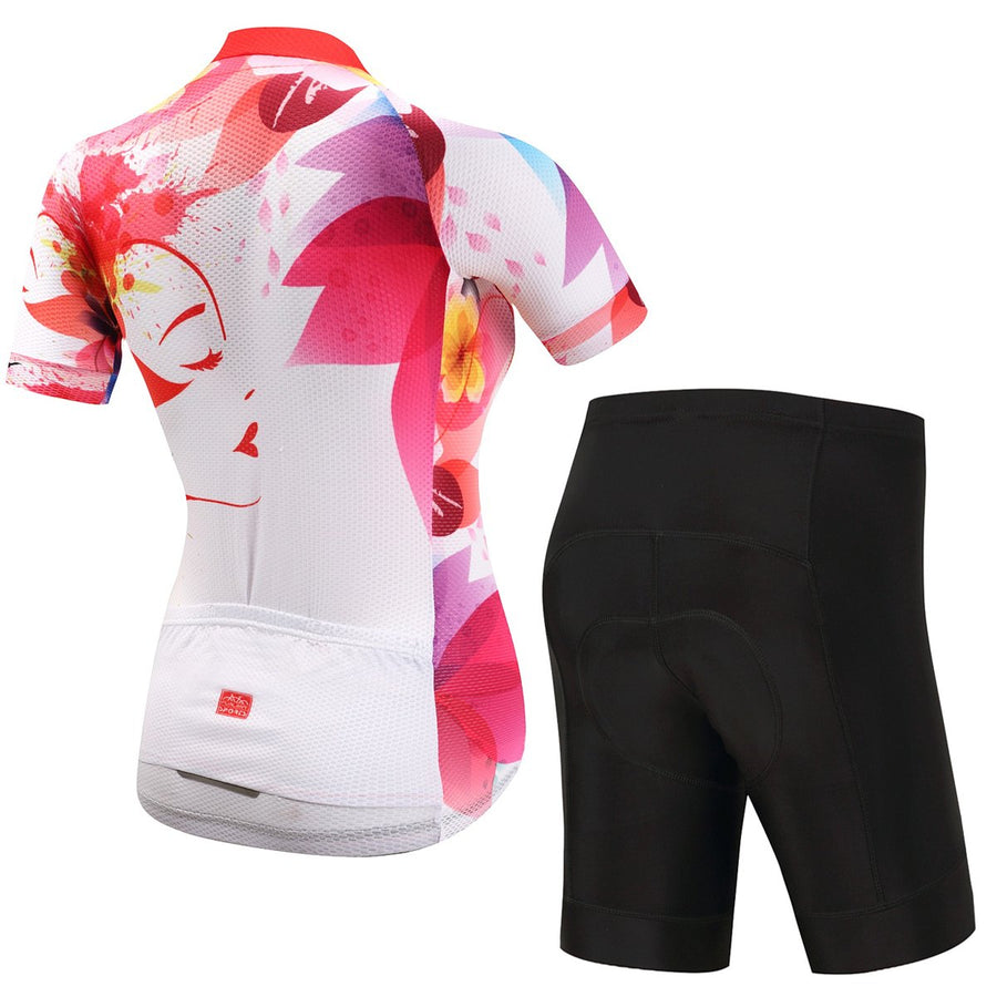 TrendyCycling Women's Jersey and pants / 3XL / White Felicia - Women's Short Sleeve Jersey Set