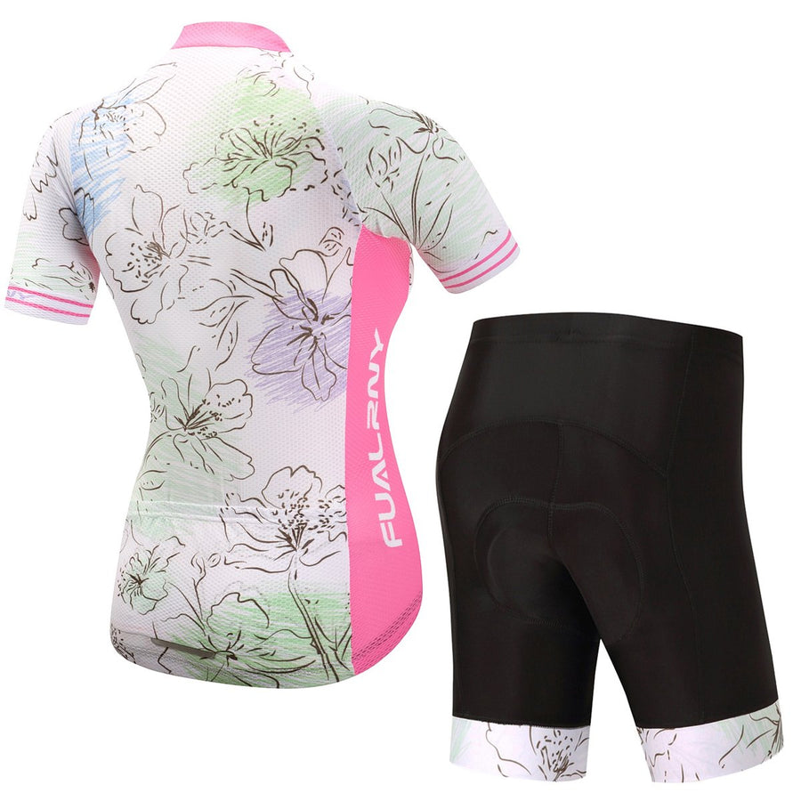 TrendyCycling Women's Jersey and pants / 3XL / LightPink Flower - Women's Short Sleeve Jersey Set