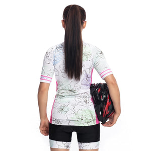 TrendyCycling Women's Flower - Women's Short Sleeve Jersey Set