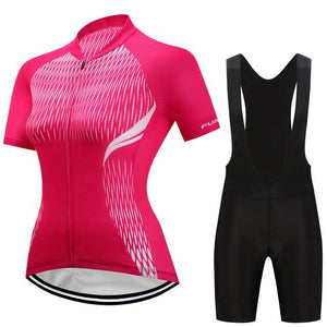 TrendyCycling Women's Jersey and black bib / 3XL / Hot/Pink Adina - Women's Short Sleeve Jersey Set