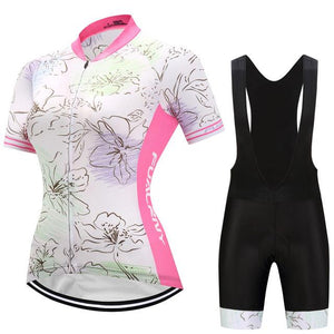 TrendyCycling Women's Jersey and black bib / 3XL / LightPink Flower - Women's Short Sleeve Jersey Set