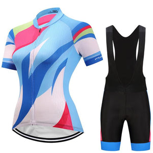 TrendyCycling Women's Jersey and black bib / 3XL / SkyBlue Hedia - Women's Short Sleeve Jersey Set