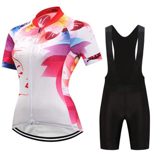 TrendyCycling Women's Jersey and black bib / 3XL / White Felicia - Women's Short Sleeve Jersey Set
