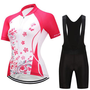 TrendyCycling Women's Jersey and black bib / S / DeepPink Blossom - Women's Short Sleeve Jersey Set