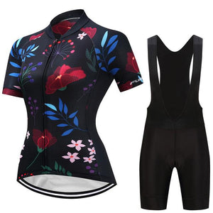 TrendyCycling Women's Jersey and black bib / S / Navy Caitlin - Women's Short Sleeve Jersey Set