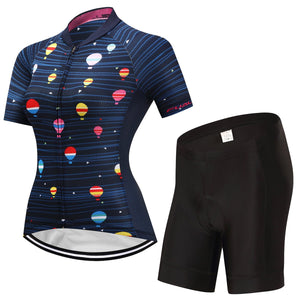 TrendyCycling Women's Jersey and pants / 3XL / Navy Hot Air Balloon - Women's Short Sleeve Jersey Set