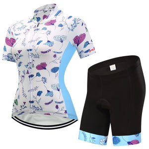 TrendyCycling Women's Jersey and pants / 3XL / White Mayflower - Women's Short Sleeve Jersey Set