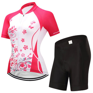 TrendyCycling Women's Jersey and pants / S / DeepPink Blossom - Women's Short Sleeve Jersey Set