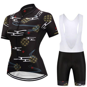 TrendyCycling Women's Jersey and white bib / 3XL / Black Wallis - Women's Short Sleeve Jersey Set