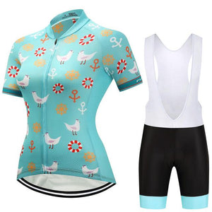 TrendyCycling Women's Jersey and white bib / 3XL / DarkTurquoise Dalila - Women's Short Sleeve Jersey Set