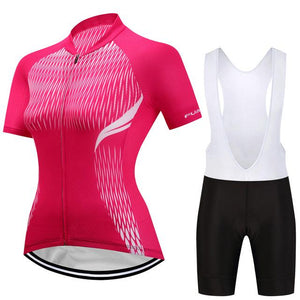 TrendyCycling Women's Jersey and white bib / 3XL / Hot/Pink Adina - Women's Short Sleeve Jersey Set