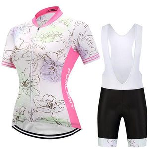 TrendyCycling Women's Jersey and white bib / 3XL / LightPink Flower - Women's Short Sleeve Jersey Set