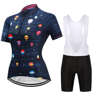 TrendyCycling Women's Jersey and white bib / 3XL / Navy Hot Air Balloon - Women's Short Sleeve Jersey Set