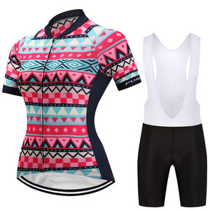 TrendyCycling Women's Jersey and white bib / 3XL / Pink Colette - Women's Short Sleeve Jersey Set