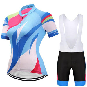 TrendyCycling Women's Jersey and white bib / 3XL / SkyBlue Hedia - Women's Short Sleeve Jersey Set