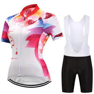 TrendyCycling Women's Jersey and white bib / 3XL / White Felicia - Women's Short Sleeve Jersey Set