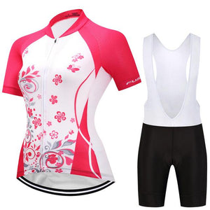 TrendyCycling Women's Jersey and white bib / S / DeepPink Blossom - Women's Short Sleeve Jersey Set