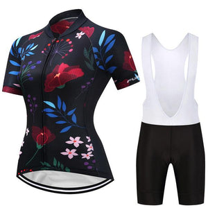 TrendyCycling Women's Jersey and white bib / S / Navy Caitlin - Women's Short Sleeve Jersey Set