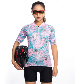 TrendyCycling Women's Serene Bloom - Women's Short Sleeve Jersey