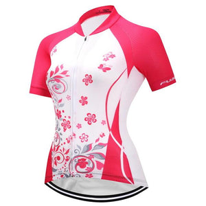 TrendyCycling Women's XS / DeepPink Blossom - Women's Short Sleeve Jersey