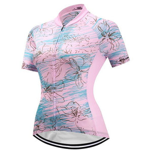 TrendyCycling Women's XS / Pink Serene Bloom - Women's Short Sleeve Jersey