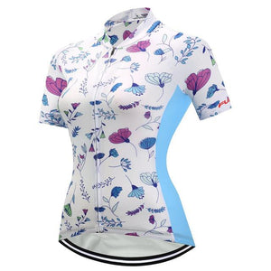 TrendyCycling Women's XS / White Mayflower - Women's Short Sleeve Jersey