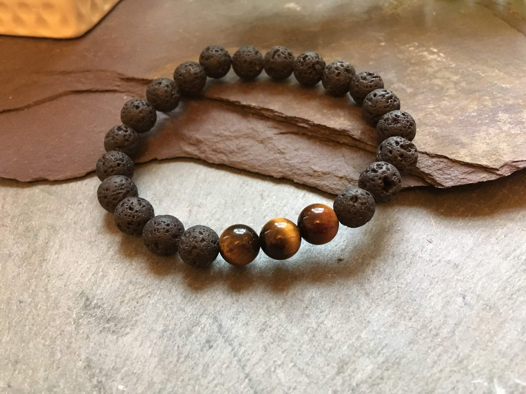 Lava Rock Stone and Tigers Eye Fashion Bracelet. Great as an Essential Oils Diffuser.-Liv Beads-Olivia Esme Jewellery and Gifts