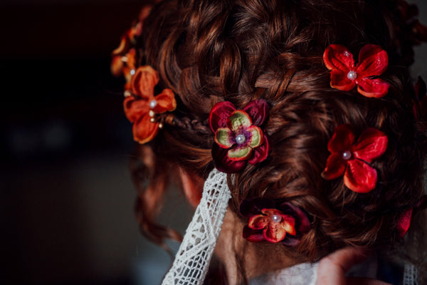 autumn flower crown wedding hair accessories