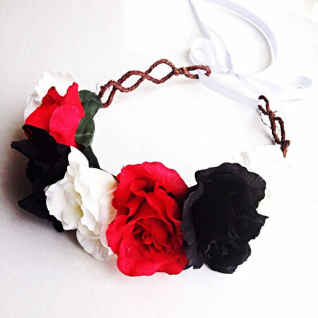 black red flower crown