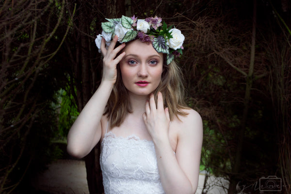 ivory flower crown wedding