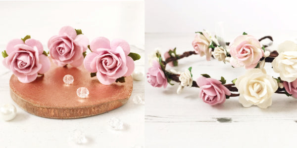 rose flower crown and hair pins