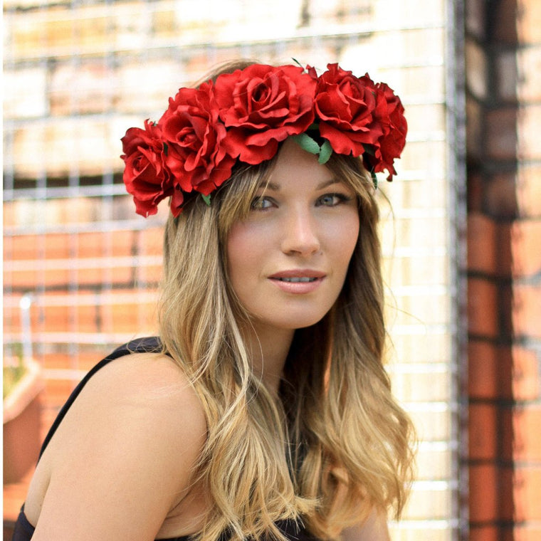ABBY Red Rose Oversized Floral Crown